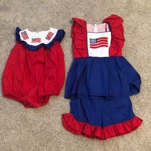 Flag romper and shorts set